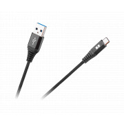 KABEL USB - USB-C OPLOT CZARNY 0,5M QUICK CHARGE