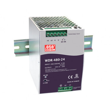 MEAN WELL NDR-480-48 DIN SLIM 480W 48VDC 10A