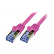 LOGILINK PATCH CORD S/FTP CAT 6a RÓŻOWY 0,5m 26AWG